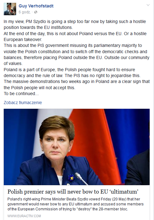 Wpis G. Verhofstadta /facebook.com