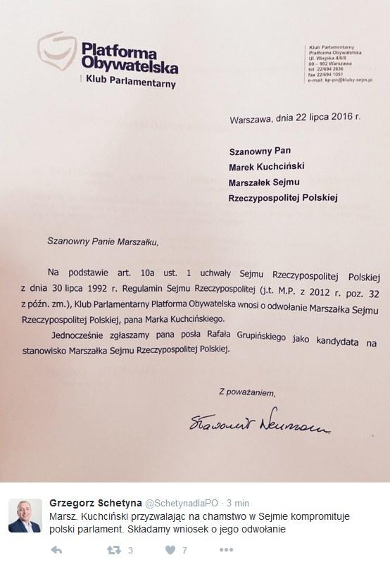 Wpis Grzegorza Schetyny /Twitter