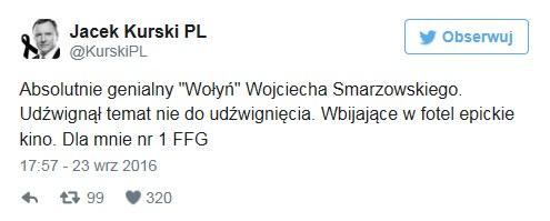 """Wpis Jacka Kurskiego na temat filmu """"Wołyń"""" /Twitter"""