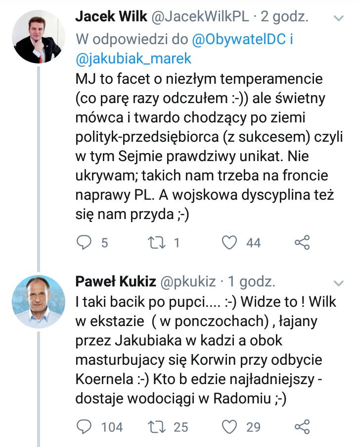 Wpis Jacka Wilka i odpowiedź Pawła Kukiza /Twitter /Zrzut ekranu