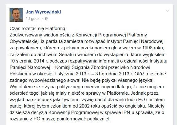 Wpis Jana Wyrowińskiego /facebook.com