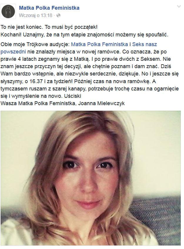 "Wpis Joanny Mielewczyk na facebookowym profilu ""Matki Polki feministki"" /Matka Polka feministka /Facebook"