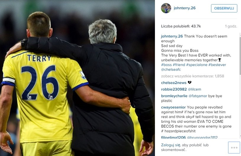 Wpis Johna Terry'ego na Instagramie /Instagram /