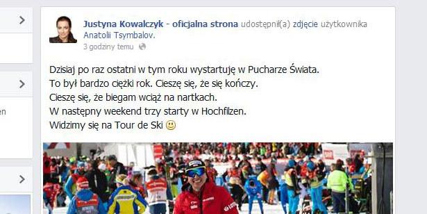 Wpis Justyny Kowalczyk na Facebooku /INTERIA.PL