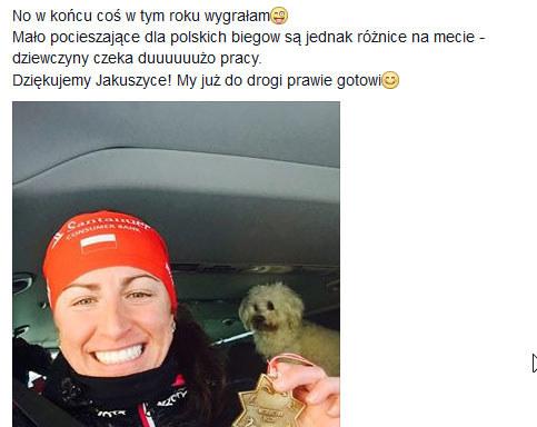 Wpis Justyny Kowalczyk na Facebooku /