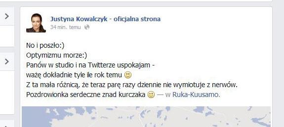Wpis Justyny Kowalczyk /INTERIA.PL