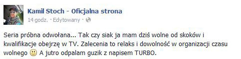 Wpis Kamila Stocha na Facebooku /INTERIA.PL