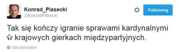 Wpis Konrada Piaseckiego /Twitter