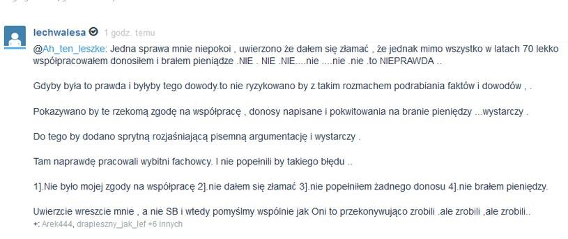 Wpis, kótry Lech Wałęsa zamieścił na swoim mikroblogu /Wykop.pl /