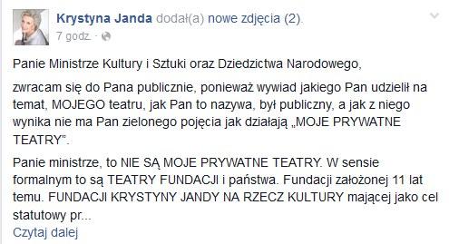 Wpis Krystyny Jandy na Facebooku /