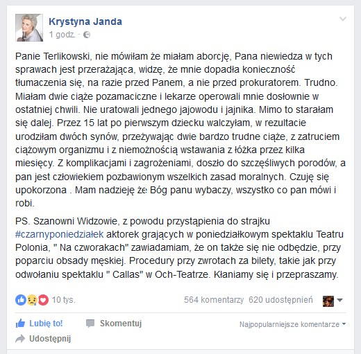 Wpis Krystyny Jandy /Facebook