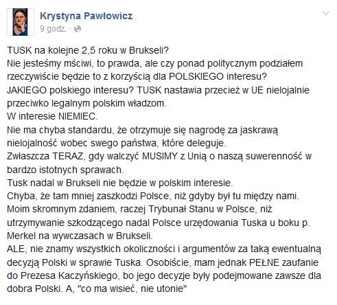 Wpis Krystyny Pawłowicz na Facebooku z dn. 09.05.2016 /facebook.com