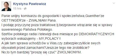 Wpis Krystyny Pawłowicz /Facebook