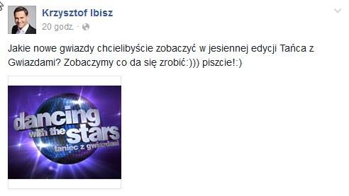 Wpis Krzysztofa Ibisza /Facebook