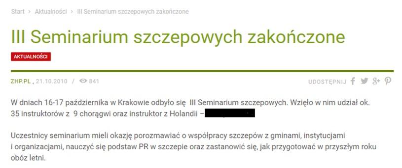 Wpis, który został usunięty ze strony ZHP; źródło: strona zhp.pl /