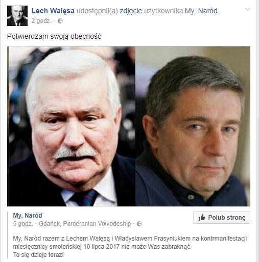 Wpis Lecha Wałęsy /facebook.com