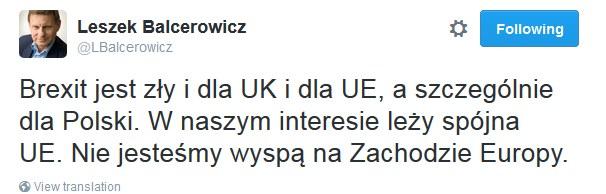 Wpis Leszka Balcerowicza /Twitter