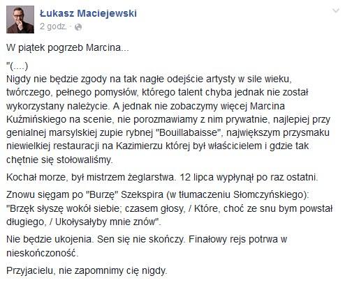 Wpis Łukasza Maciejewskiego /Facebook