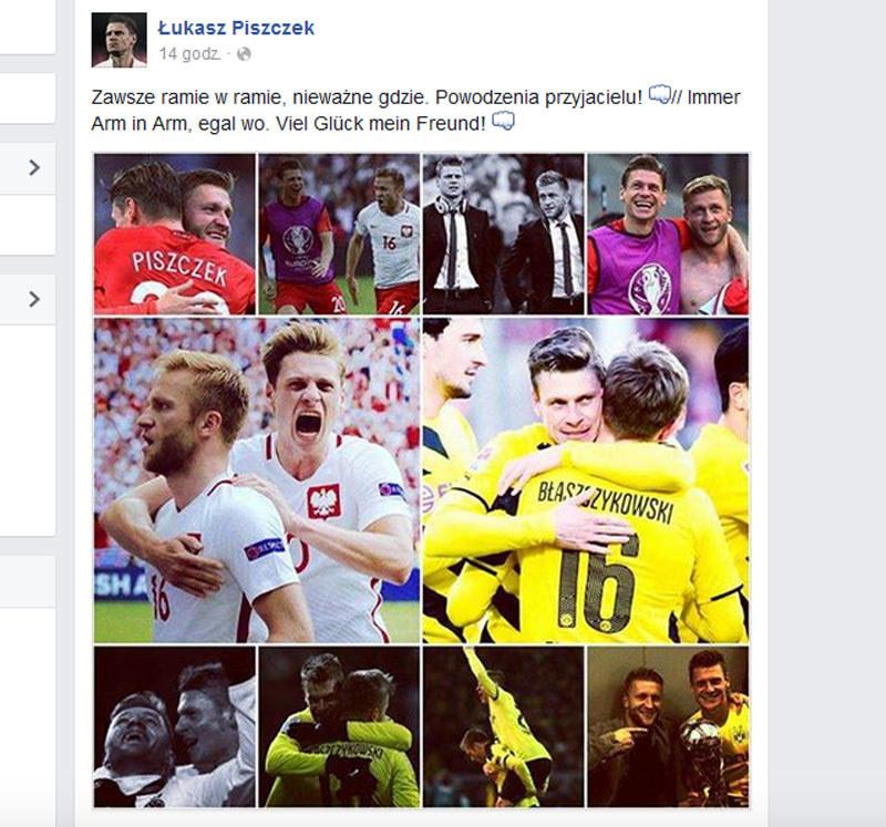 Wpis Łukasza Piszczka na jego facebookowym profilu /AFP