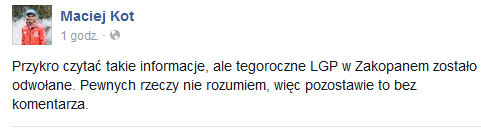 Wpis Macieja Kota na Facebooku /INTERIA.PL