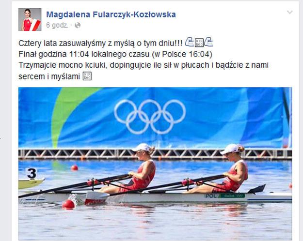 Wpis Magdaleny Fularczyk-Kozłowskiej na Facebooku /