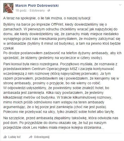 Wpis Marcina Dobrowolskiego /facebook.com