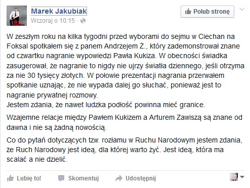 Wpis Marka Jakubiaka /facebook.com