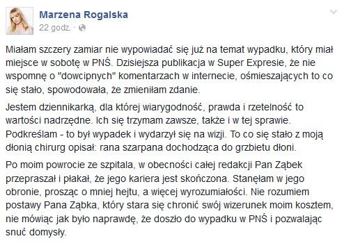 Wpis Marzeny Rogalskiej na Facebooku /Facebook