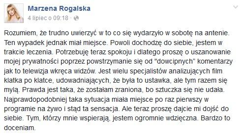 Wpis Marzeny Rogalskiej /Facebook