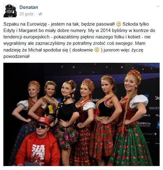 Wpis na Facebooku Donatana /