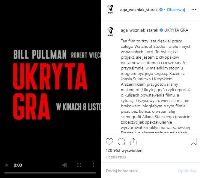 Wpis na Instagramie Agnieszki Woźniak-Starak /materiały prasowe