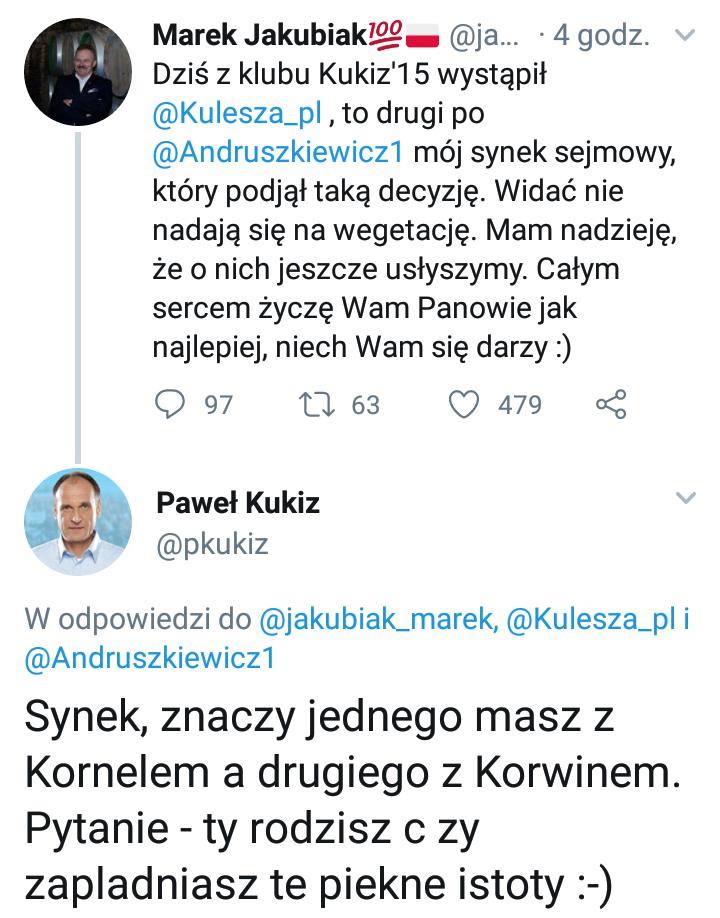 Wpis na oficjalnym profilu Pawła Kukiza /Twitter /Zrzut ekranu