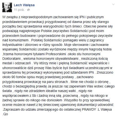 Wpis na profilu Lecha Wałęsy na Facebooku /Facebook.com /