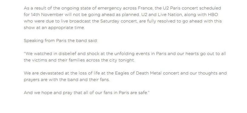 Wpis na stronie grupy U2 /&nbsp /