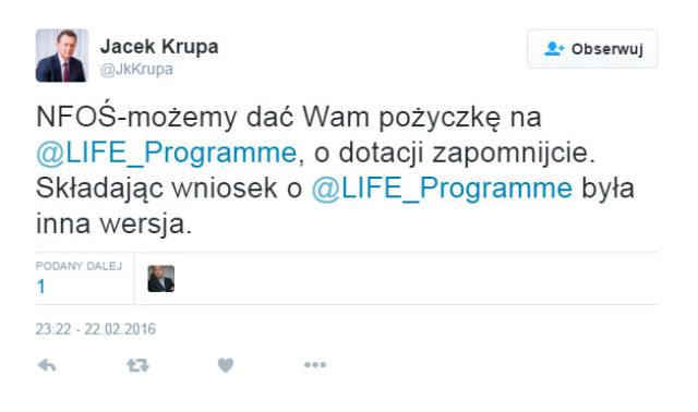 Wpis na Twitterze Jacka Krupy /Twitter /