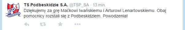 Wpis na Twitterze Podbeskidzia Bielsko Biała. Źródło: https://twitter.com/TSP_SA /Twitter /Internet