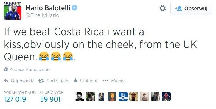 Wpis na Twitterze snajpera reprezentacji Włoch /INTERIA.PL