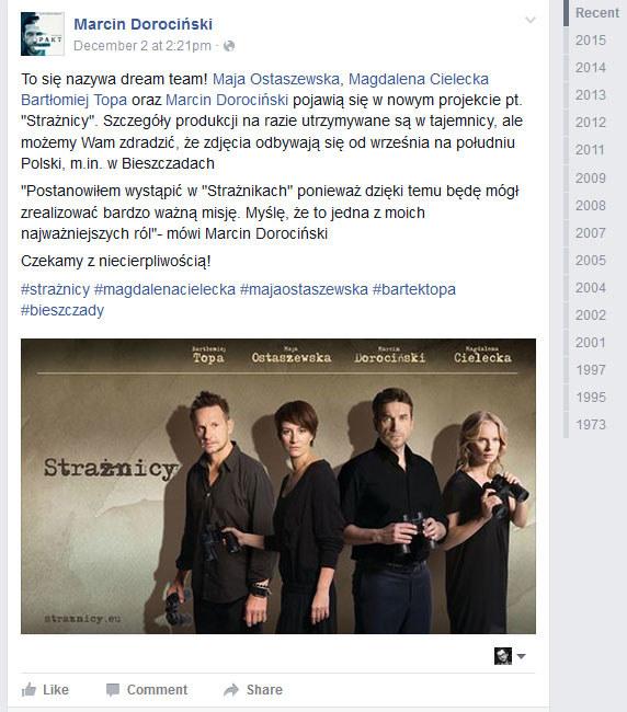 Wpis na wallu Marcina Dorocińskiego /Facebook /internet
