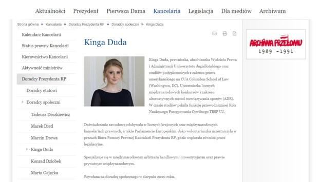 Wpis nt. Kingi Dudy zamieszczony na stronie Kancelarii Prezydenta /Zrzut ekranu