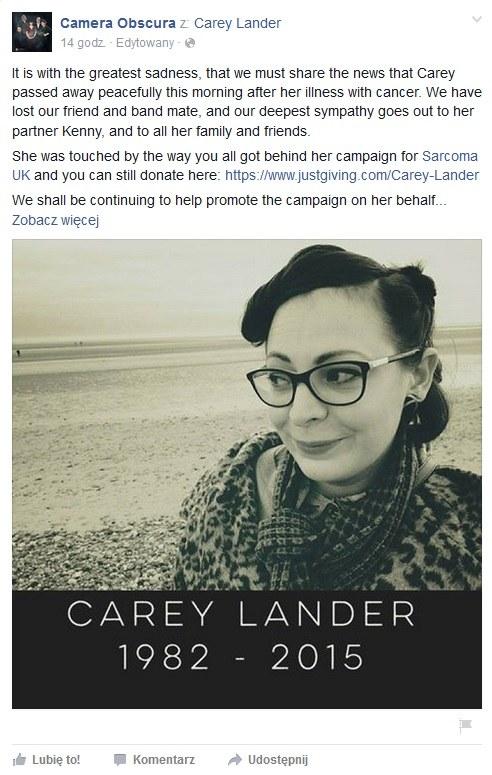 Wpis o śmierci Carey Lander na profilu Camera Obscura / Facebook /&nbsp /