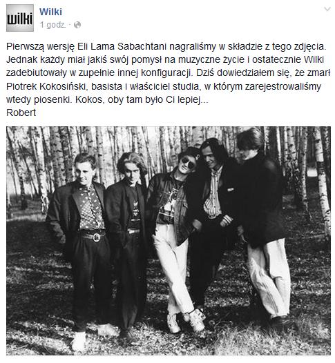 Wpis opublikowanym na facebookowym profilu grupy Wilki /Facebook /