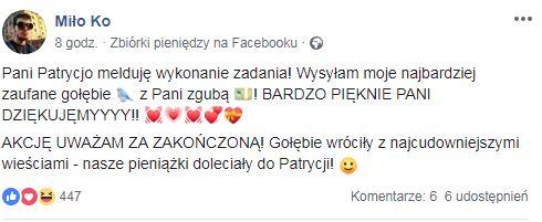 Wpis pana Miłosza /Zrzut ekranu
