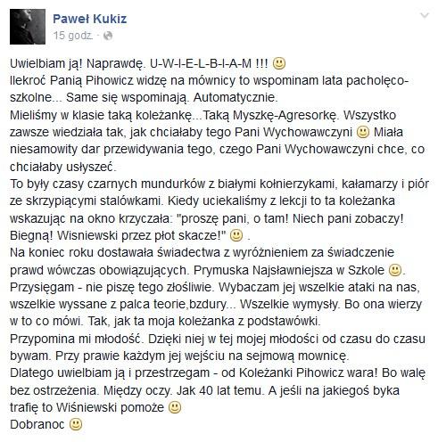 Wpis Pawła Kukiza (z 15.02.2016) /facebook.com