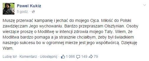 Wpis Pawła Kukiza /facebook.com