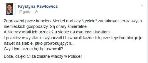 Wpis Pawłowicz na Facebooku. /
