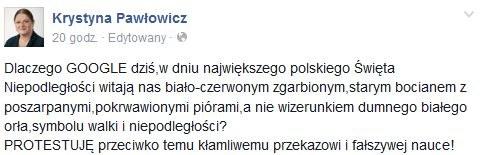 Wpis Pawłowicz na Facebooku /