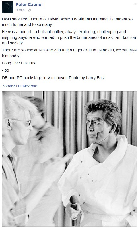 Wpis Petera Gabriela o Davidzie Bowie /Facebook /