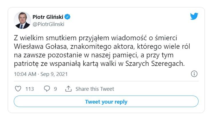 Wpis Piotra Glińskiego na Twitterze /materiały prasowe