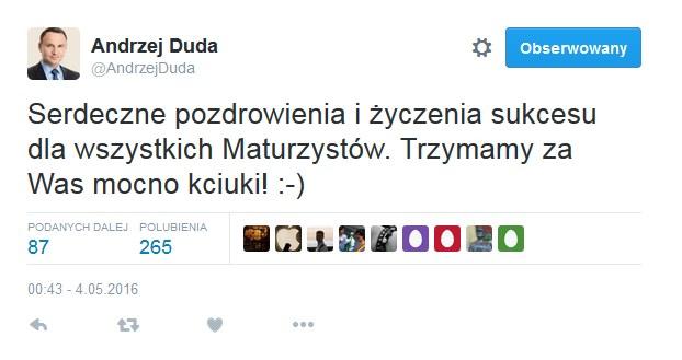Wpis prezydenta Andrzeja Dudy /Twitter