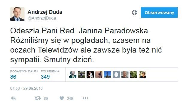 Wpis prezydenta Dudy /Twitter